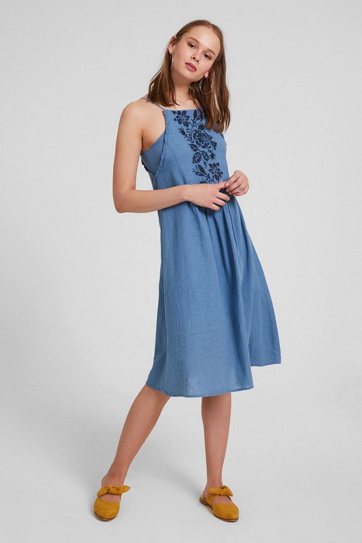 Mavi Askılı Nakışlı Elbise