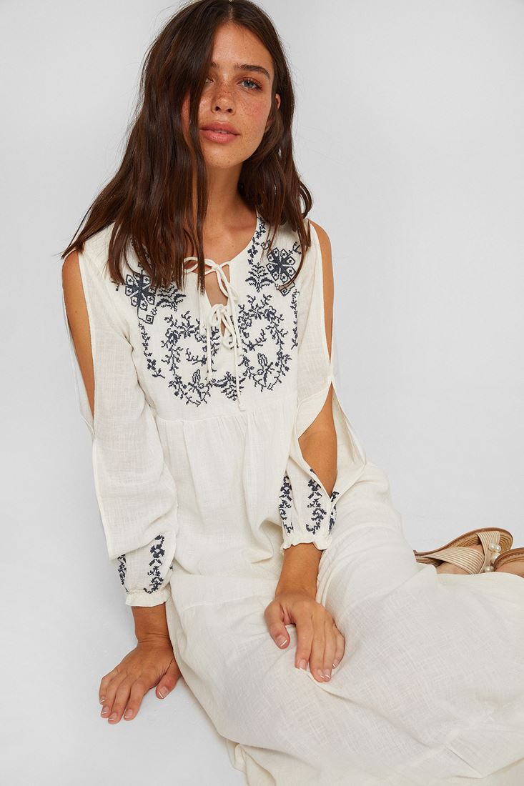 Cream Long Dress With Embroidered Detail