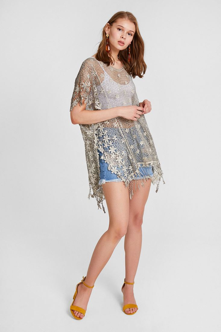 Grey Bohemian Lace Blouse