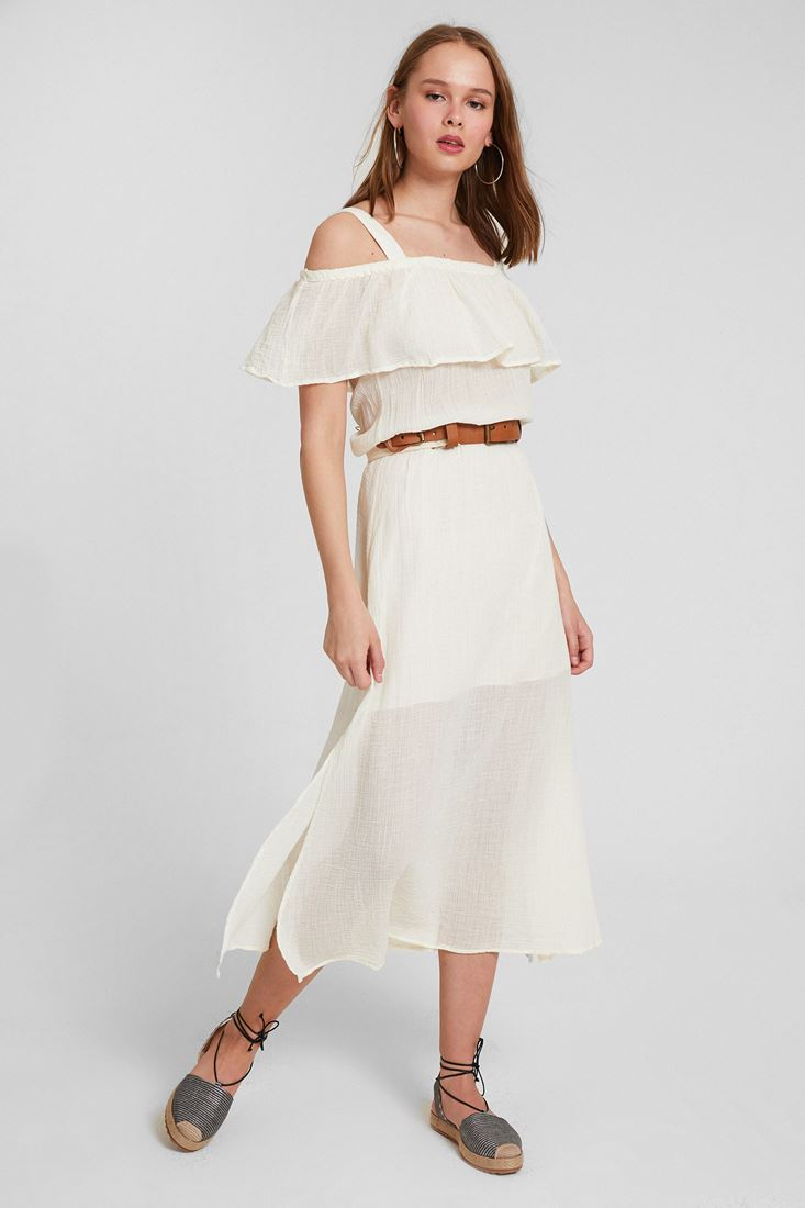 Cream Shoulder Detailed Dress