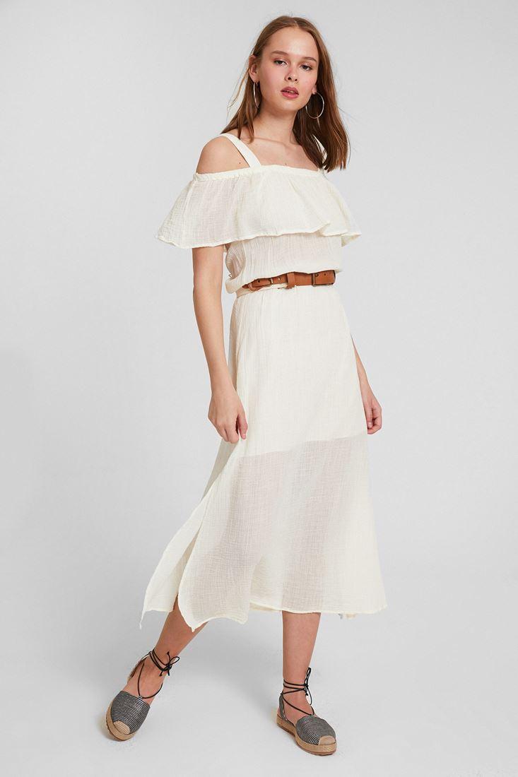 Krem Omuz Detaylı Elbise