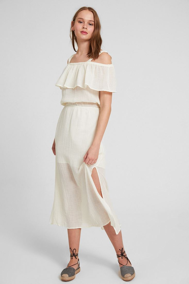 Bayan Krem Omuz Detaylı Elbise