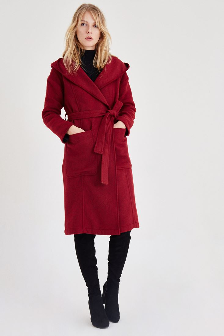 Bordeaux Hooded Coat with Pockets