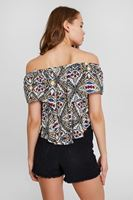 Women Mixed Blouse With Shoulder Detail