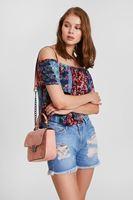 Bayan Çok Renkli Omuzları Açık Desenli Bluz