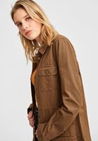 Women Green Long Jacket with Pockets