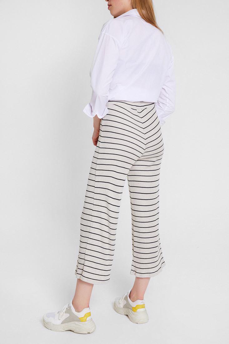 Bayan Krem Çizgili Culotte Pantolon