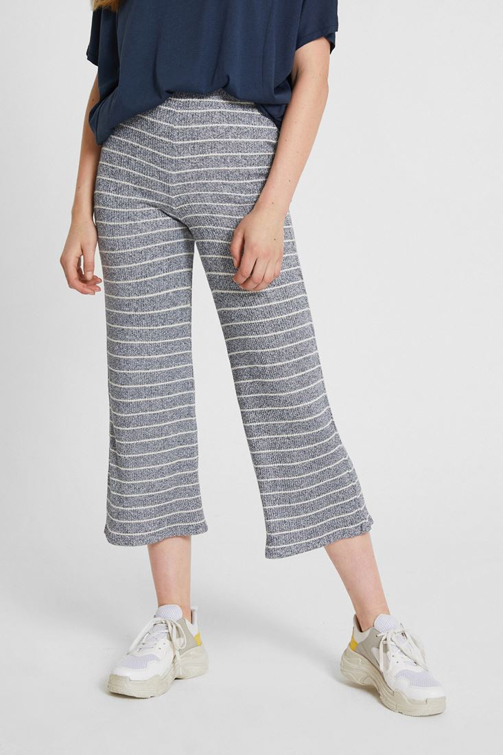 Lacivert Çizgili Culotte Pantolon