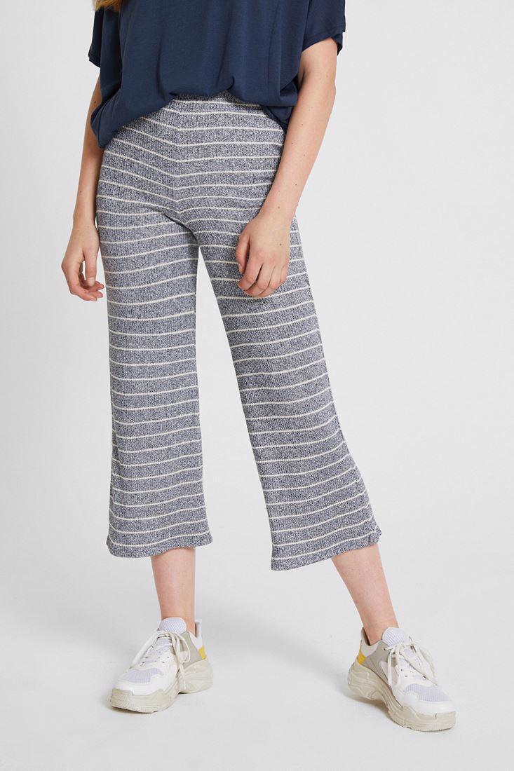 Bayan Lacivert Çizgili Culotte Pantolon