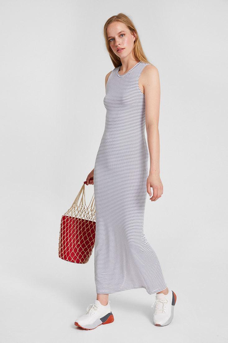 Beyaz Çizgili Arkası Yırtmaç Detaylı Elbise