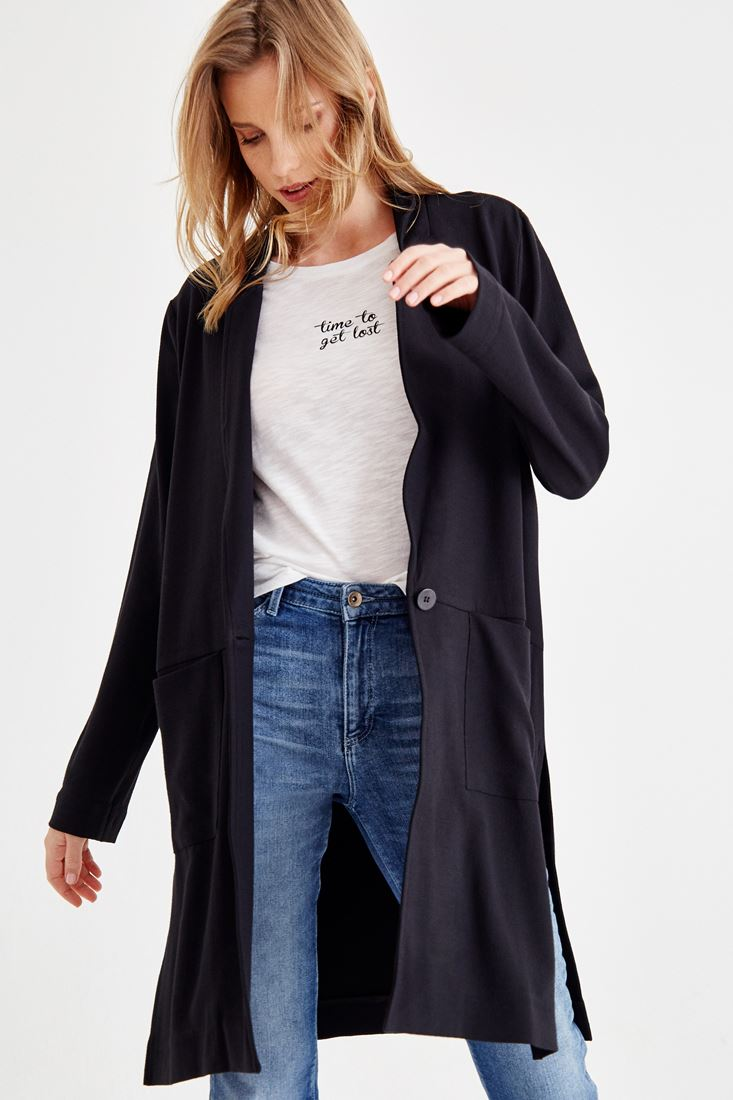 Black Long Cardigan With Side Split Detail