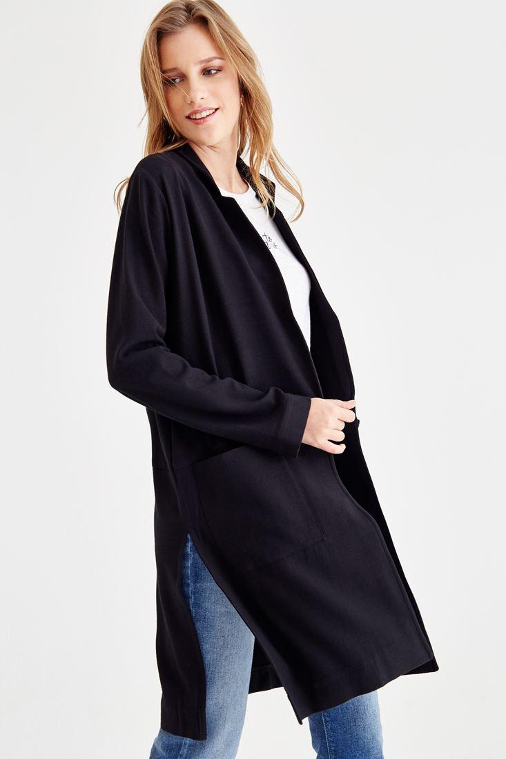 Bayan Siyah Yanları Yırtmaçlı Uzun Ceket