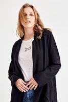 Women Black Long Cardigan With Side Split Detail