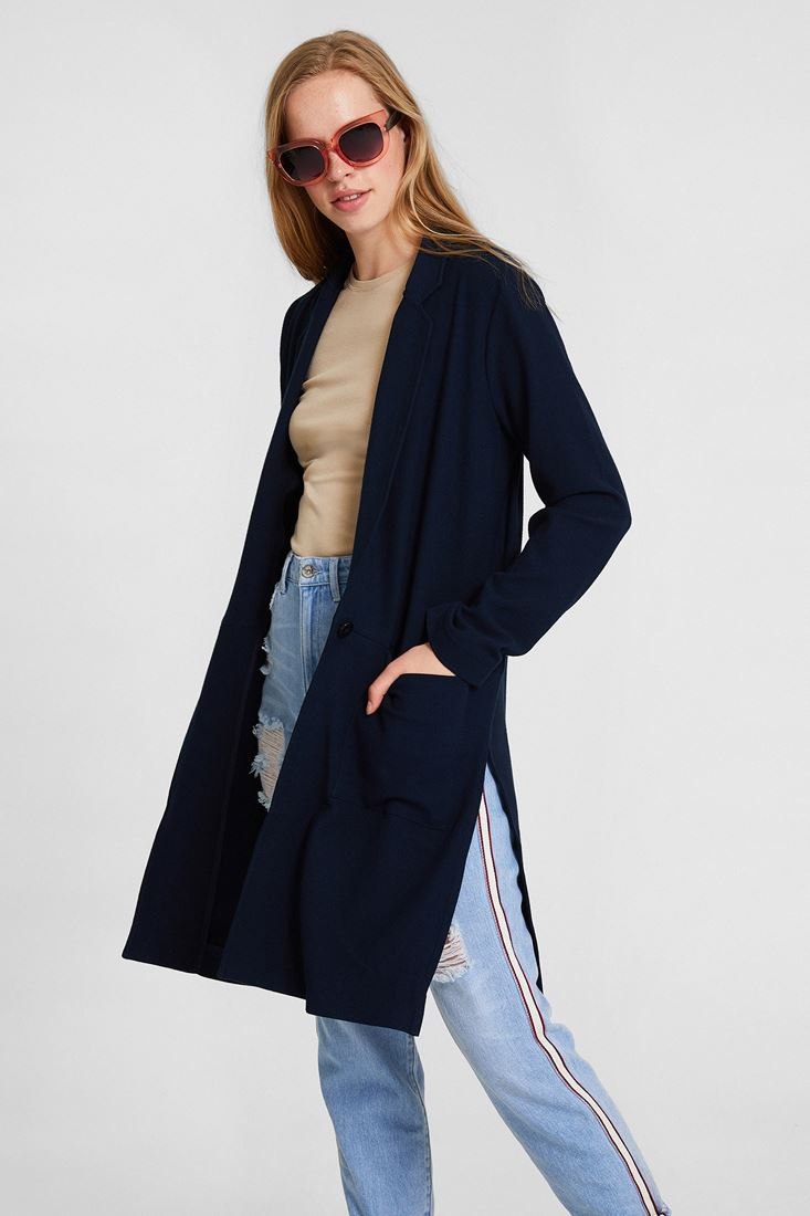 Navy Long Cardigan With Side Split Detail