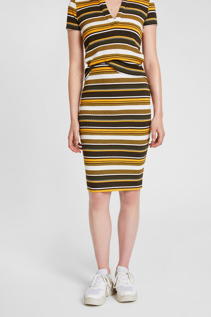 Mixed Stripped Pencil Skirt