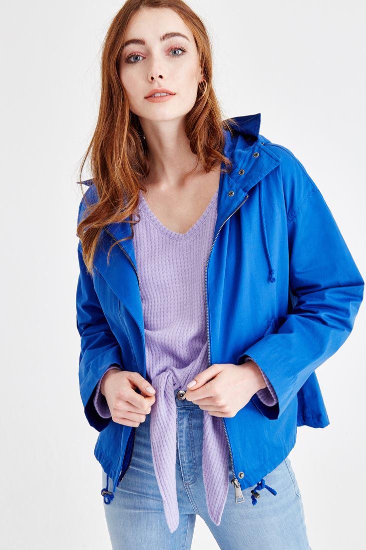 Bayan Mavi Kapüşonlu İnce Ceket