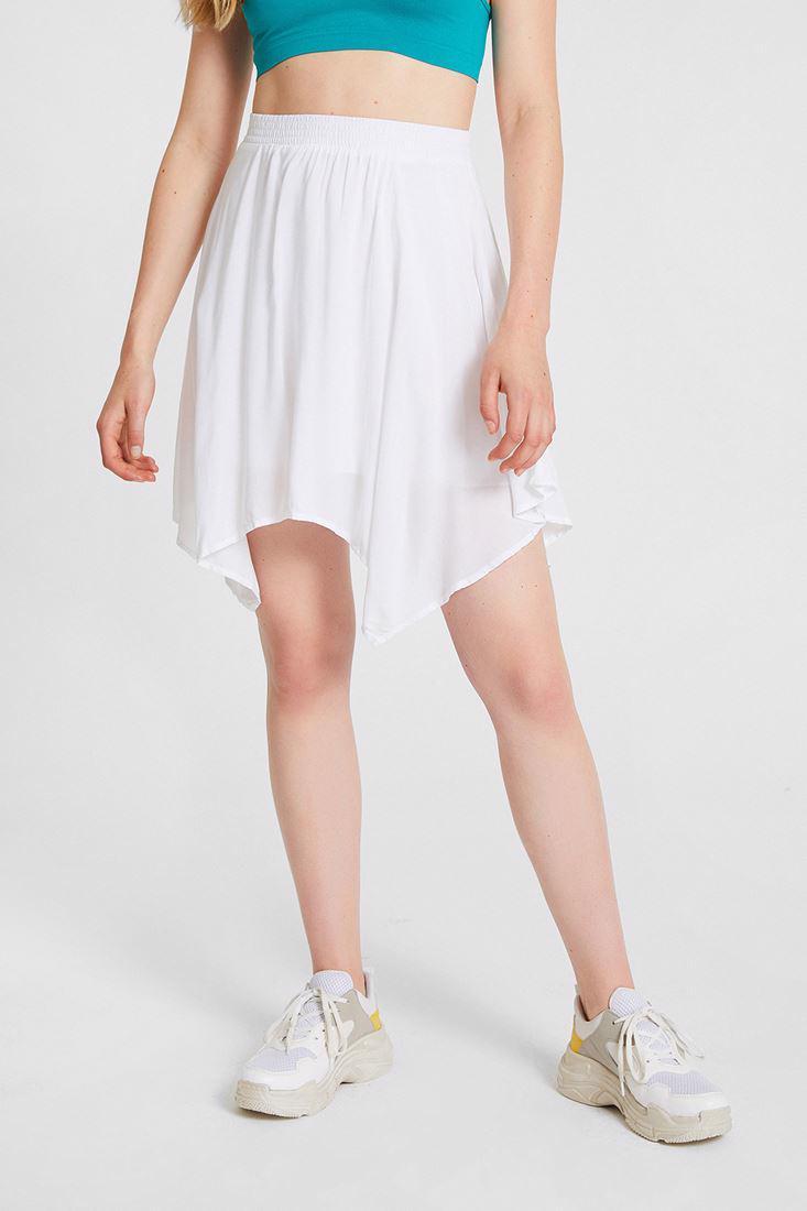 Women White Asimetric Skirt