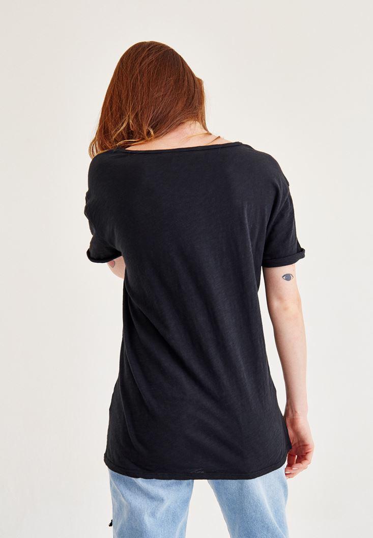 Bayan Siyah Korse Bağcık Detaylı Tişört