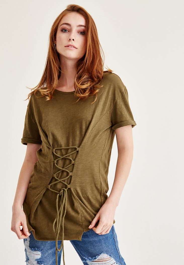 Green T-Shirt With Corset Detail
