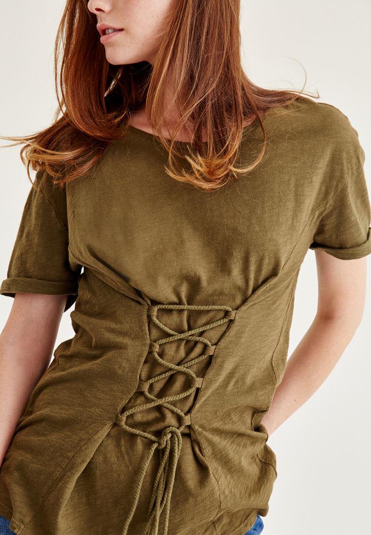 Bayan Yeşil Korse Bağcık Detaylı Tişört
