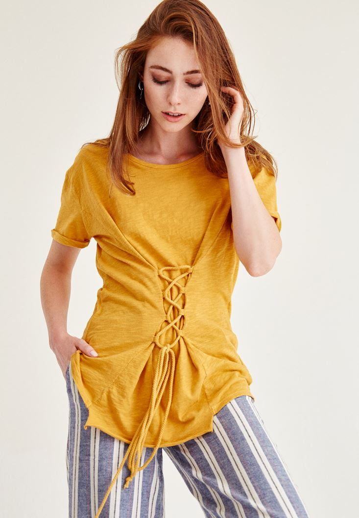 Yellow T-Shirt With Corset Detail