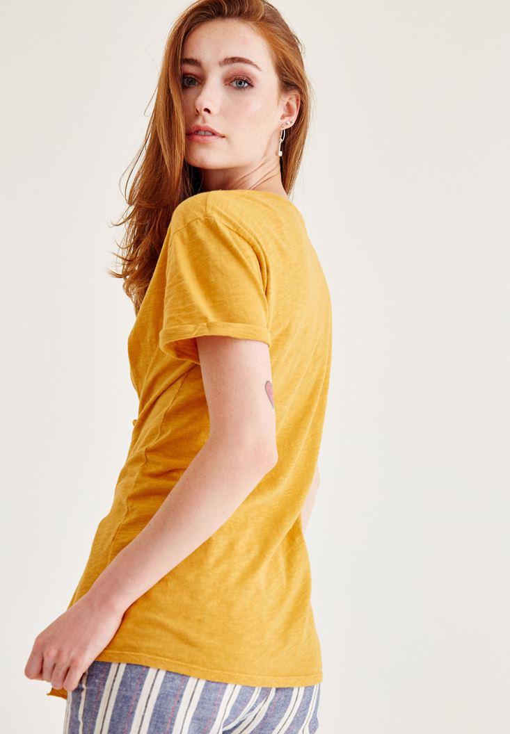 Bayan Sarı Korse Bağcık Detaylı Tişört