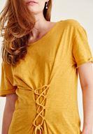 Bayan Turuncu Korse Bağcık Detaylı Tişört