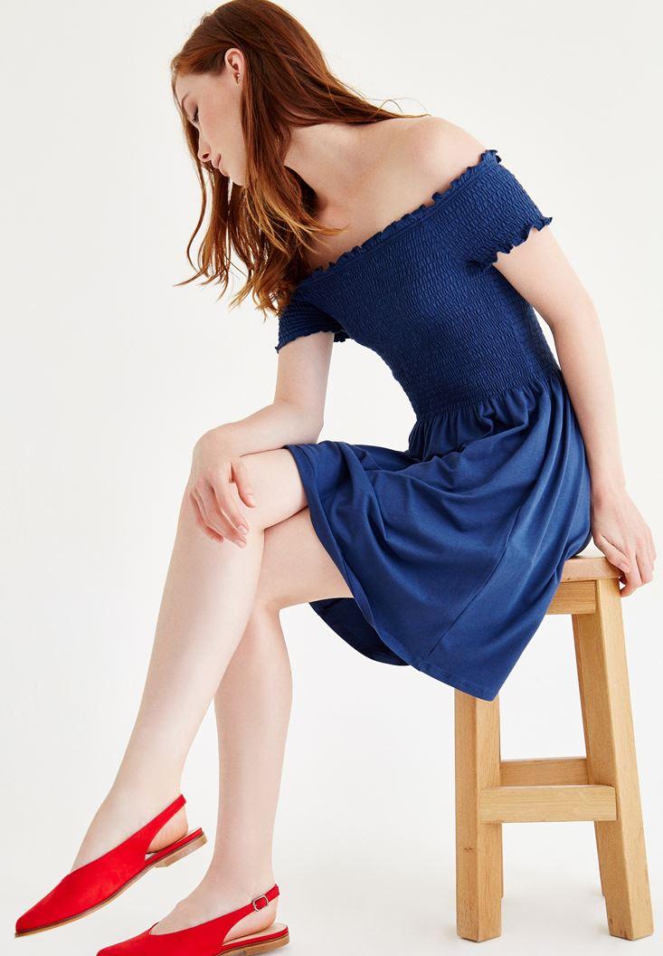Mavi Düşük Omuzlu Mini Elbise