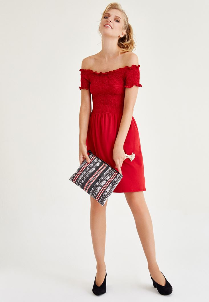 Bayan Kırmızı Düşük Omuzlu Mini Elbise