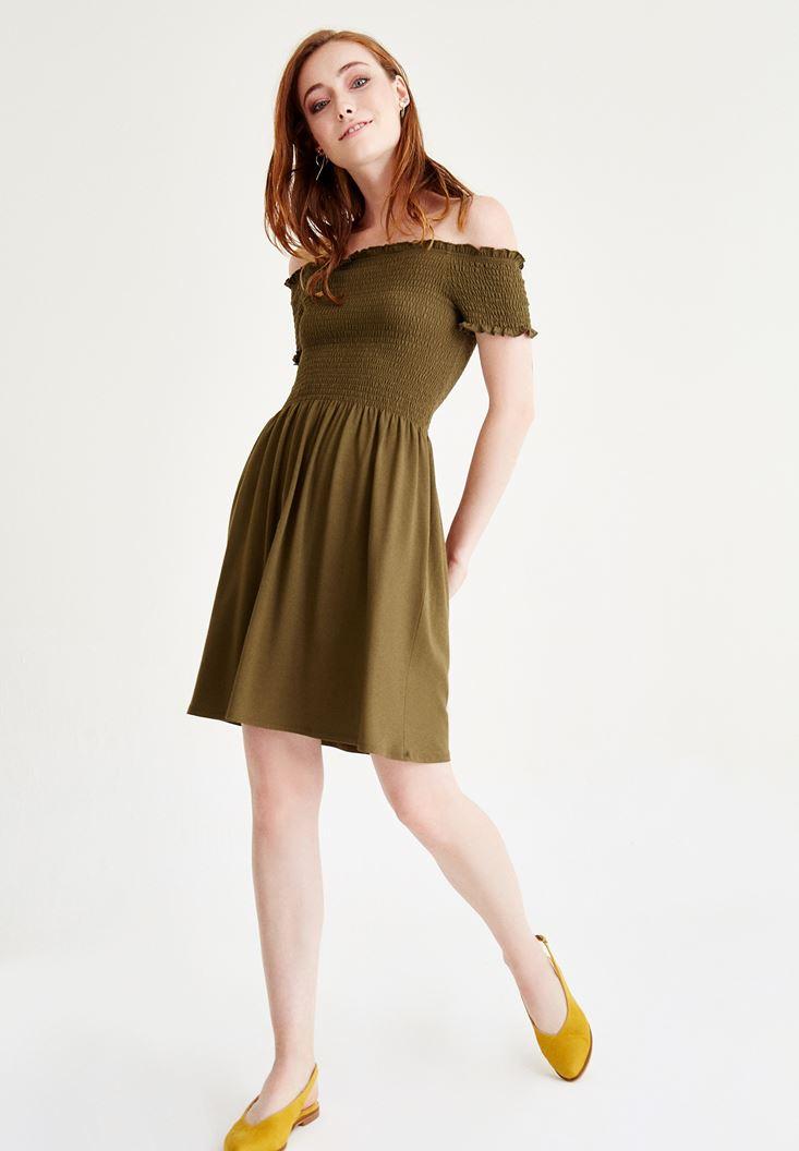 Yeşil Düşük Omuzlu Mini Elbise
