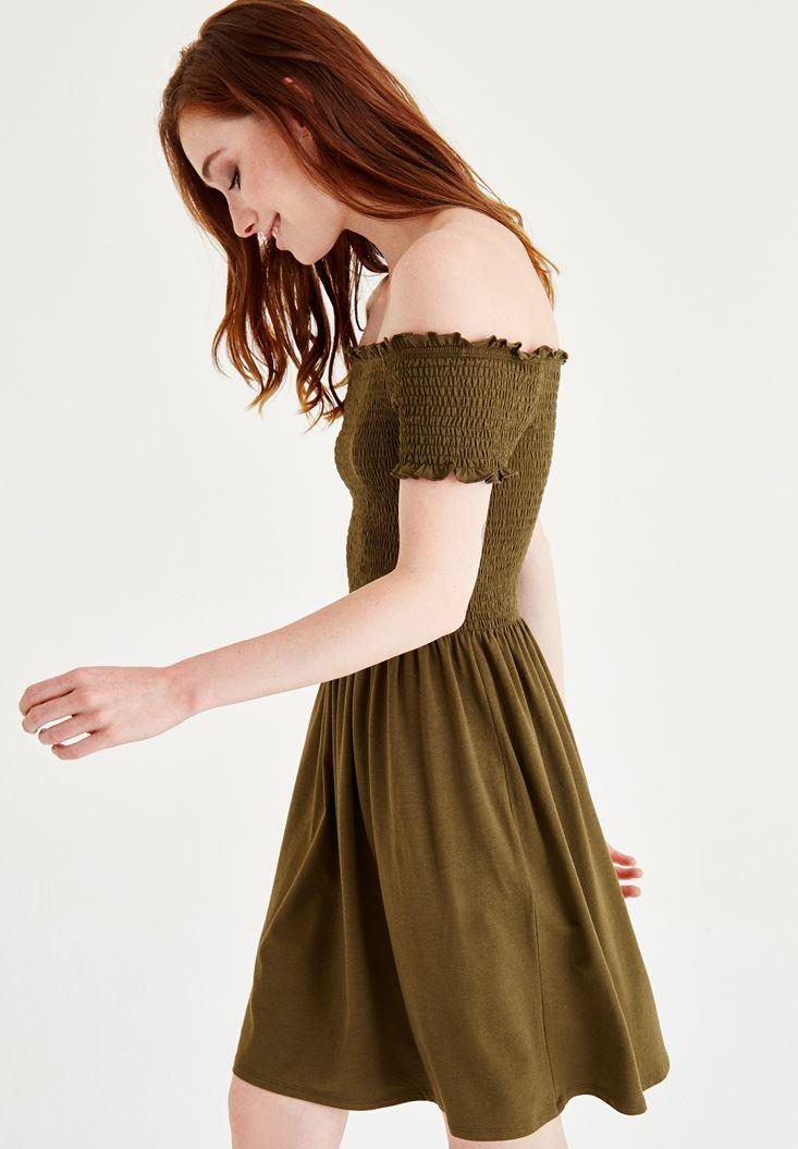 Bayan Yeşil Düşük Omuzlu Mini Elbise