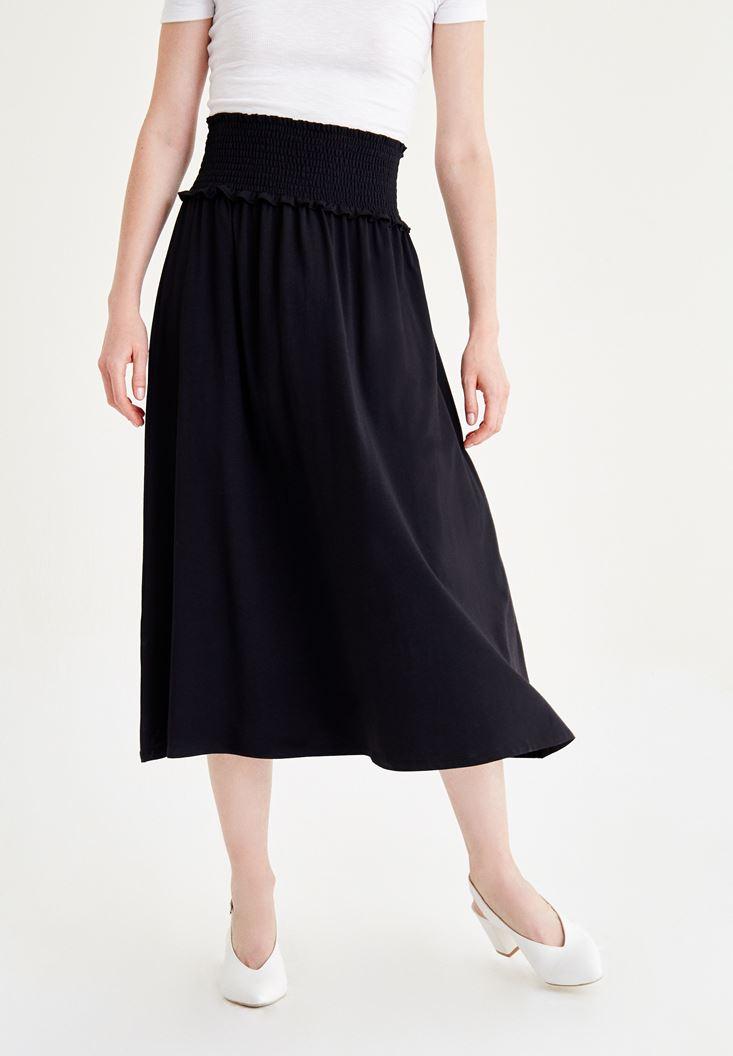 Siyah Beli Lastikli Uzun Etek