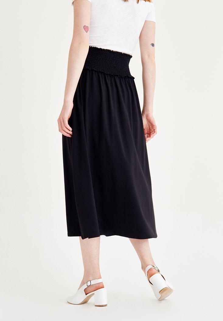 Bayan Siyah Beli Lastikli Uzun Etek