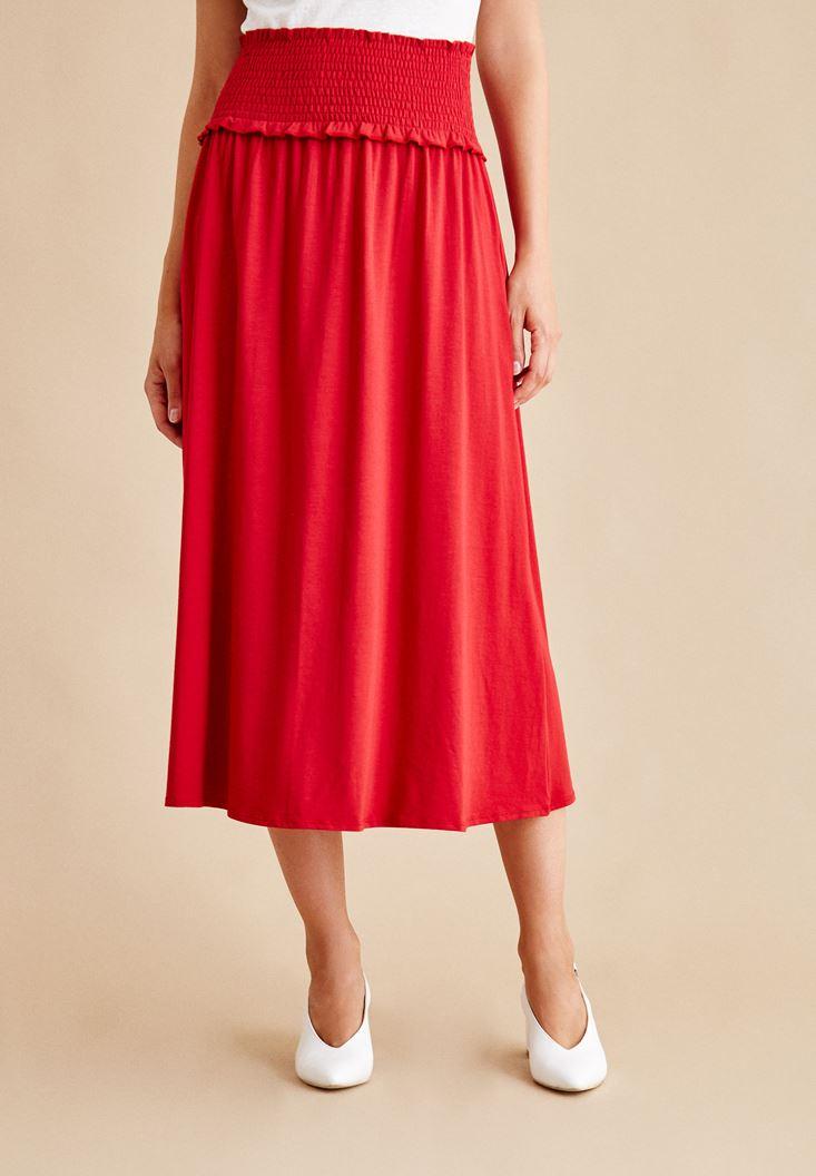 Kırmızı Beli Lastikli Uzun Etek