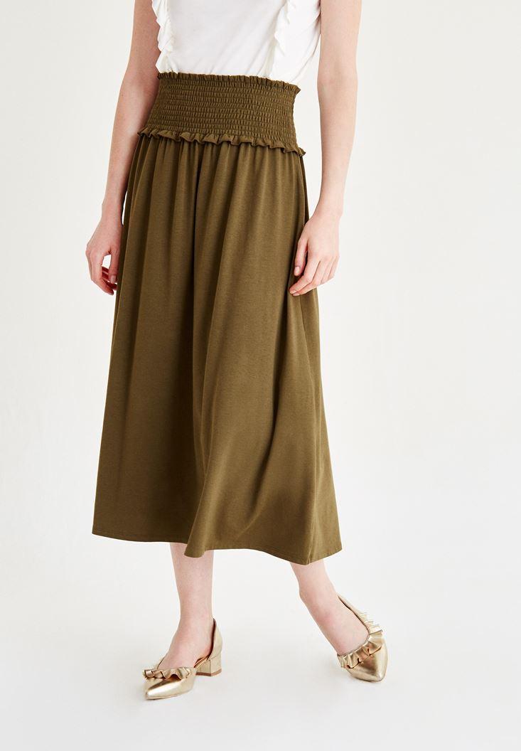 Bayan Yeşil Beli Lastikli Uzun Etek