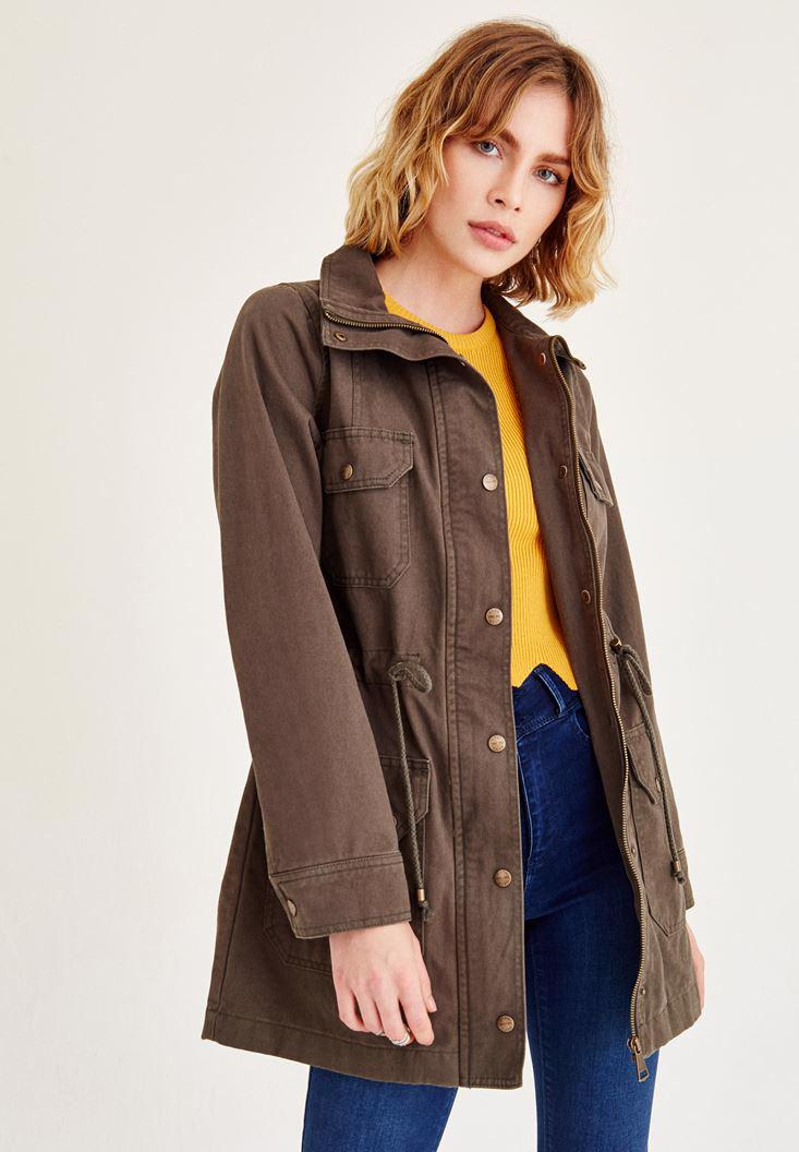 Women Green Coat With Pockets