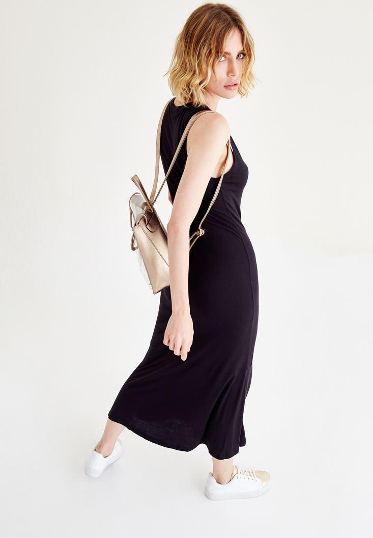 Bayan Siyah Diz Altı Elbise