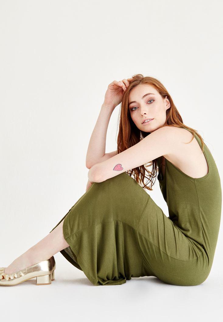 Yeşil Diz Altı Elbise
