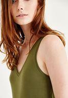 Bayan Yeşil Diz Altı Elbise