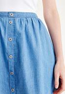 Bayan Mavi Düğme Detaylı Etek
