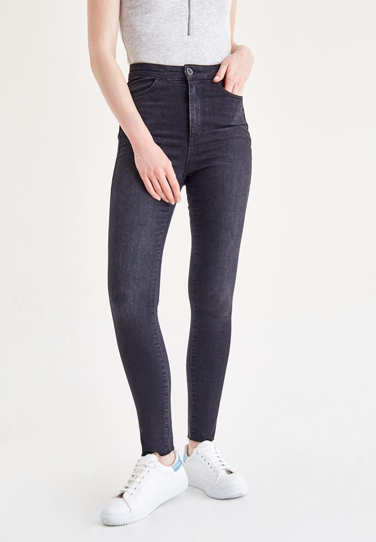 Siyah Yüksek Bel Jean Pantolon