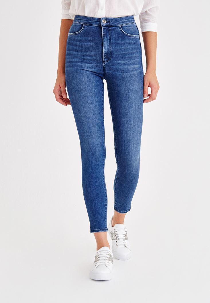 Bayan Mavi Yüksek Bel Jean Pantolon