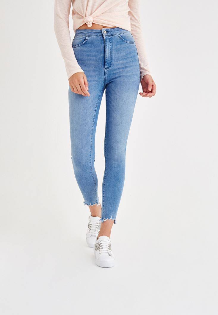 Mavi Yüksek Bel Jean Pantolon
