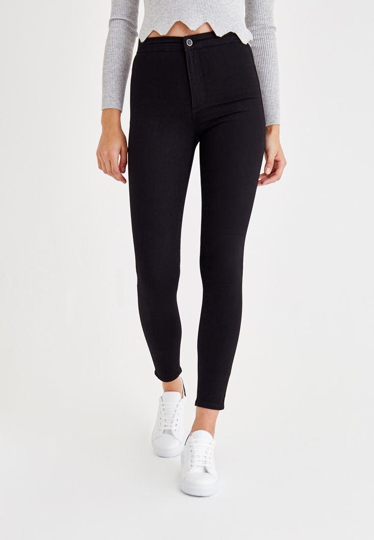Bayan Siyah Ultra Yüksek Bel Skinny Denim Pantolon