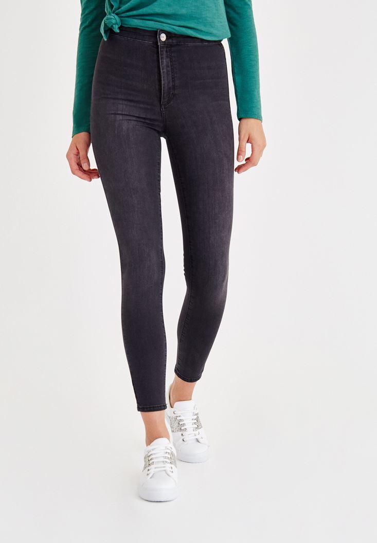 Gri Ultra Yüksek Bel Skinny Denim Pantolon