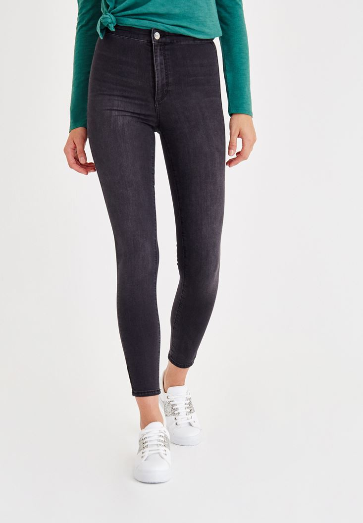 Grey Ultra High Rise Skinny Denim Jeans