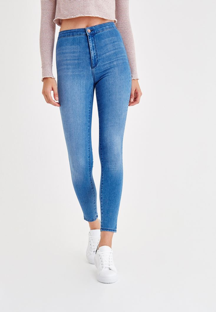 Blue Ultra High Rise Skinny Denim Jeans