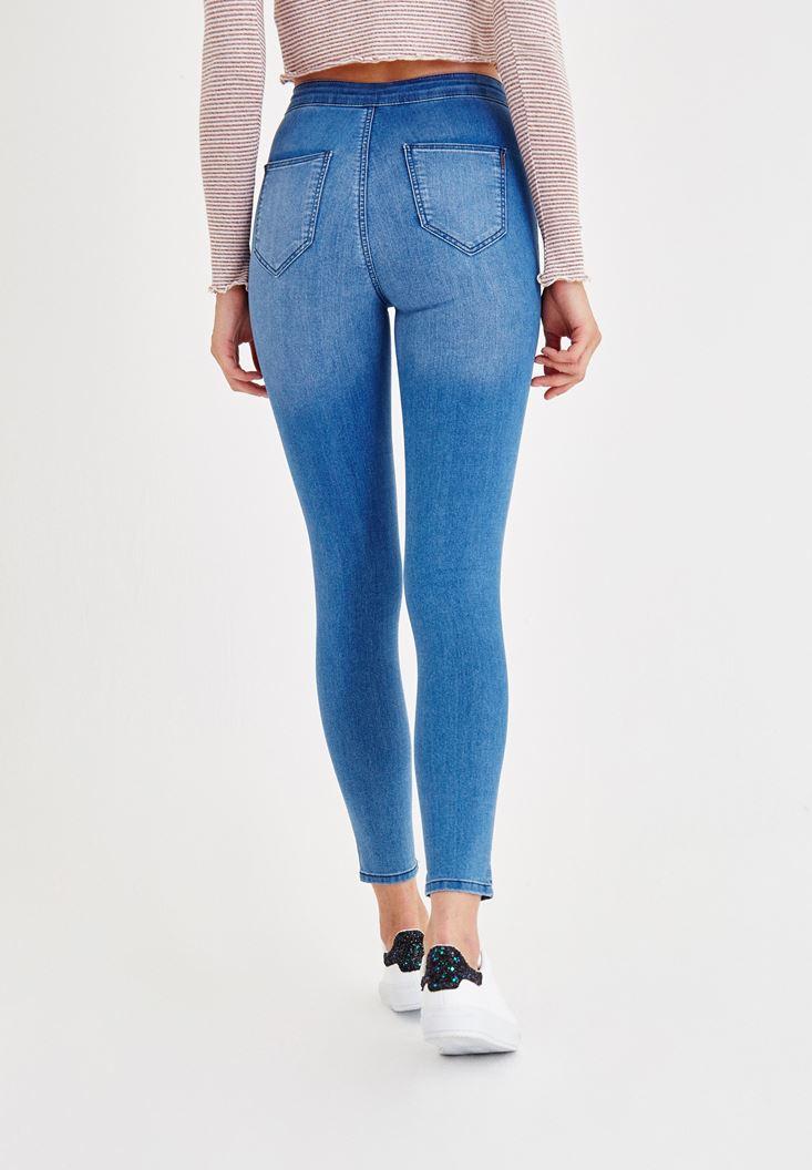 Bayan Mavi Ultra Yüksek Bel Skinny Denim Pantolon