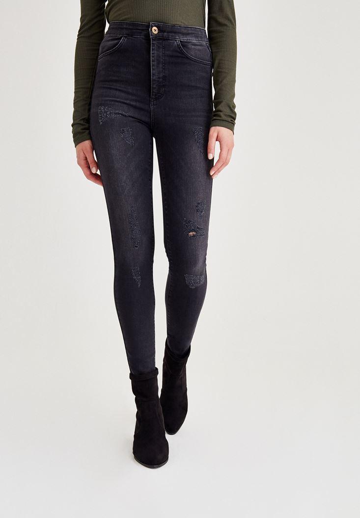 Siyah Yüksek Bel Dar Paça Eskitme Denim Pantolon