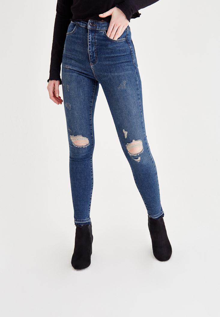 Lacivert Yüksek Bel Dar Paça Eskitme Denim Pantolon